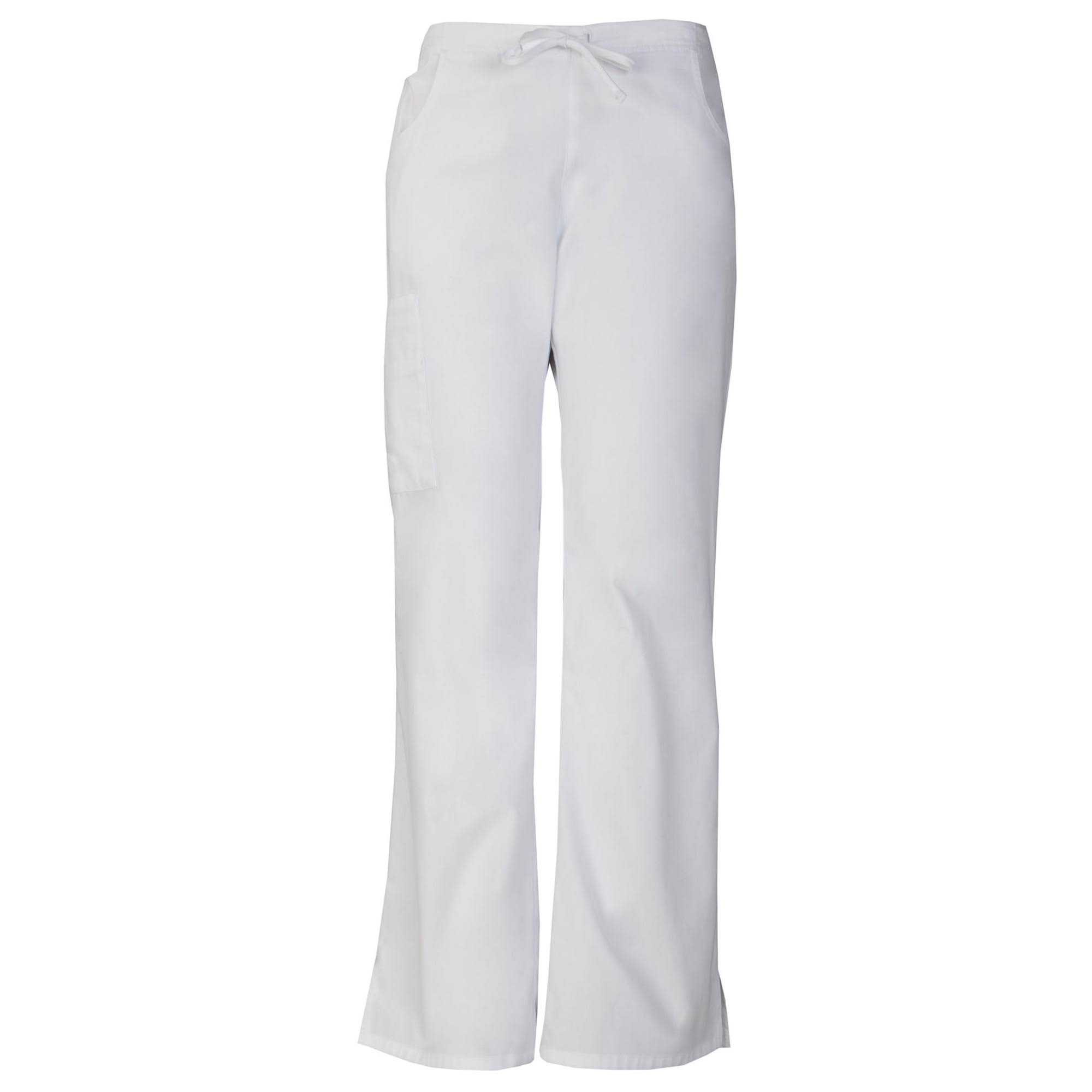 Dickies EDS Signature Women's Drawstring Cargo Scrub Pants-86206 (White - Small)