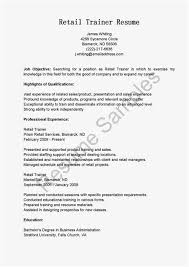 Retail Trainer Sample Resume