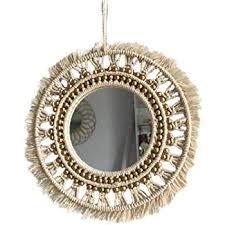 böhmische hängende wand spiegel frame macrame fringe runden