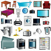 Household Appliances Vector Set Of