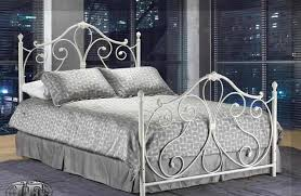 Fascinating white wrought iron bed design idea with grey patterned
