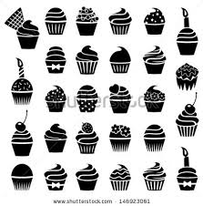 vector black and white cupcake icons collection of dessert birthday and fruit cupcakes with