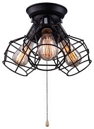 LNC Wire Cage Ceiling Lights 3 Light Pull String Ceiling Lamp