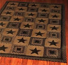 Rustic Area Rugs Barn Star Patch Rug Black Braided Rectangle Country Decor Primitive