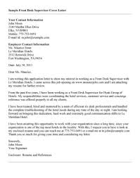 Front Desk Cover Letter Hotel by Cover Letter Cover Letter For Supervisor Cover Letter For
