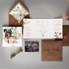 English Garden Luxury Folding Wedding Invitation A Quintessentially British Theme Featuring Beautiful Illustrated Roses Rustic Twine And Custom Wax