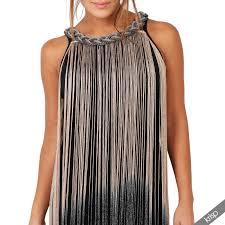 womens tassel fringe flapper dress sleeveless top bodycon mini tunic