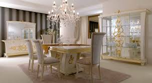 Luxury Italian Dining Room Furniture With Crystal Chandelier And White Buffet