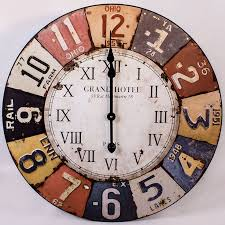 Retro Interior Design With Large Vintage Wall Clock Colorful Numeric Indicator And High Quality Zinc Base