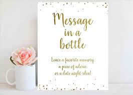 Bridal Shower Sign Printable Wedding Guest Book Ideas Message In A Bottle Custom Accessories