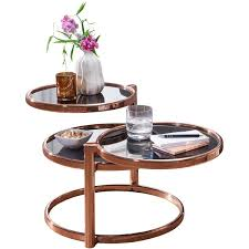 couchtisch susi mit 3 tischplatten schwarz kupfer 58 x 43 x 58 cm beistelltisch rund design wohnzimmertisch glas metall designer glastisch