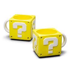 Mario Bros Question Block Lamp by Super Mario 16 Oz Coin Box Mug Thinkgeek
