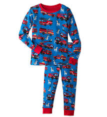 Fire Trucks Pajamas Set - Navy - 10 | HearthSong