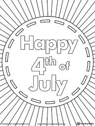 Happy 4th Of July Burst Coloring Page