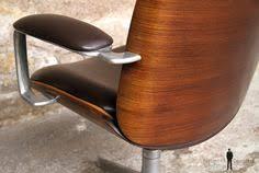 fauteuil bureau vintage fauteuil vintage tissus gris pieds métal accoudoirs teck pied