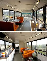 Inside Of An Old City Bus That Has Been Converted To RV See The
