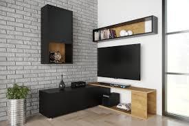davik wohnwand wohnzimmer braun schwarz tv tisch 250 cm esa home