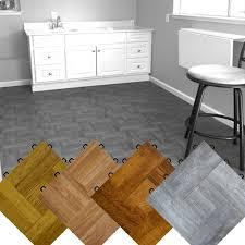 Interlocking Basement Floor Tiles Wood Vinyl Top View Larger