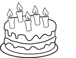 Bday Cake 5 Candles Black And White Clip Art 862