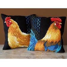 Vervaco Rooster & Chicken Pillow Cover Needlepoint