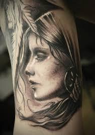 Girl Woman Angel Black Grey Arm