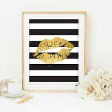 Black White And Gold Print Printable Art Dorm Room Decoration Bedroom Decor Home Lips Kiss Stripes USD By