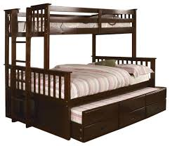 university dark walnut twin over twin size bunk bed trundle and