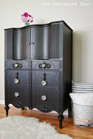 Black Dresser Drawer Knobs by A Tall Black Dresser With Glass Knobs The Weathered Door
