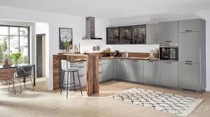 moderne l küche inox nobilia mit front in lacklaminat stahl