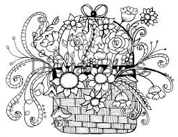 Adult Coloring Pages Whimsical Basket Of Flowers Design Page INSTANT DOWNLOAD Kids Colouring Craft Activity From DigitalBliss
