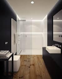 ebenerdige dusche mit glaswand in weiß durch beleuchtung
