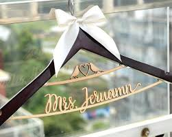 Wedding Hanger Personalized Rustic Dress Two Line
