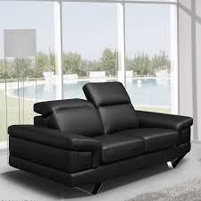 canapé 2 places en cuir canapé 2 places cuir noir têtières relevables alba univers du salon