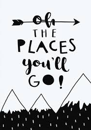 Baby Boy Print Monochrome Nursery Black And White The Places Youll Go Mountains Decor Wall Art Kids Inspirational Quote