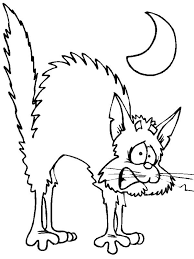 Scary Cat Happy Halloween Coloring Pages