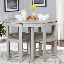 5 Piece Dining Table Set Grey Wood Kitchen Room 4 Chairs Compact Round Furniture