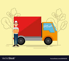 100 Truck Courier Delivery Service With Truck And Courier Royalty Free Vector