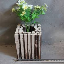 Hand Painted Outdoor Garden Flower Pot Wooden Vases Rustic