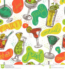 Seamless Pattern With Vintage Cocktails And Hand Drawn Lettering Cocktail Party