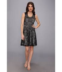 marc new york crochet lace fit flare dress in black lyst
