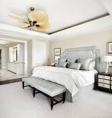 Gorgeous White And Gray Transitional Bedroom Boasts A Fanimation Windpointe 5