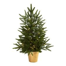 Pre Lit Christmas Tree Canada by Shop Nearly Natural 2 5 Ft 119 Count Pre Lit Artificial Christmas