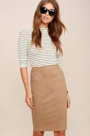 Superpower Tan Suede Pencil Skirt 1