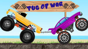 100 Monster Truck Race Tug Of War Video Big S