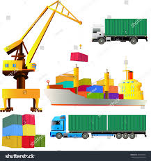100 Harbor Freight Truck Crane Sea Port Set Cargo Stock Vector Royalty Free