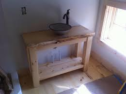 Rustic Shower Design Idea Bathroom Vanities Vessel Sinks Brown Wooden Floating Base Cabinet Unique Dark Khaki Rectangle Sink Wall Sconces