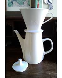 Vintage Melitta Pour Over Coffee Maker Ceramic Pot No Drip Large White Porcelain Tea Kettle Made