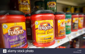 A Display Of Folgers Coffee On Supermarket Shelf In New York Saturday August