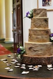 Rustic Silver Birch Wedding Cake