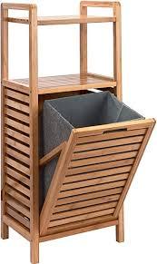 butlers big bamboo bad regal mit wäschekorb aus bambus 40x95 cm badezimmer schrank aus holz